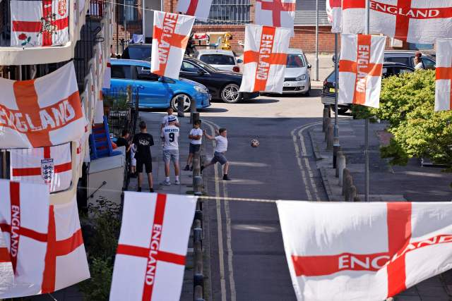 England's streets have become a sea of flags