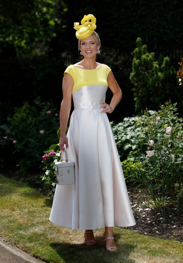 TV and Radio Presenter Charlotte Hawkins shines in yellow in a classic A-line dress