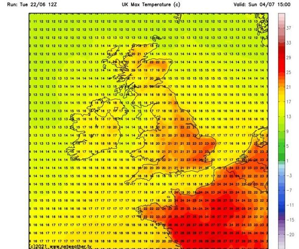 An area of high pressure from western and northern Europe will bring warm temperatures with it as it moves across Britain