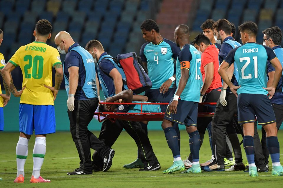 Brighton ace Moises Caicedo was stretchered off before half-time