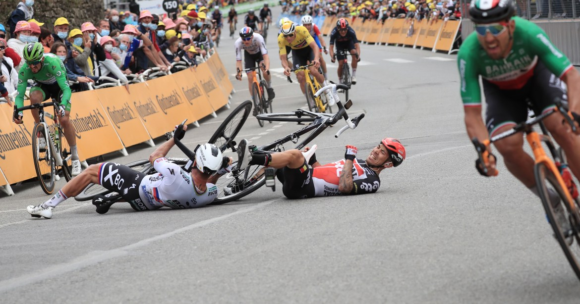 The Australian rider went down with Peter Sagan just yards from the line