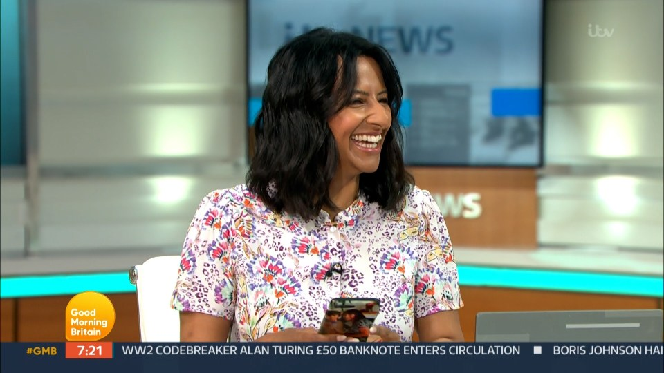 Ranvir Singh laughed as her eight-year-old son FaceTimed her on air