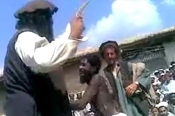 A teenage boy is flogged by Taliban militants in Pakistan