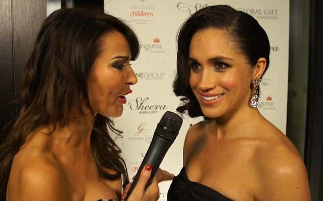 Meghan Markle is seen chatting to Lizzie Cundy, who claims she revealed her love of English men