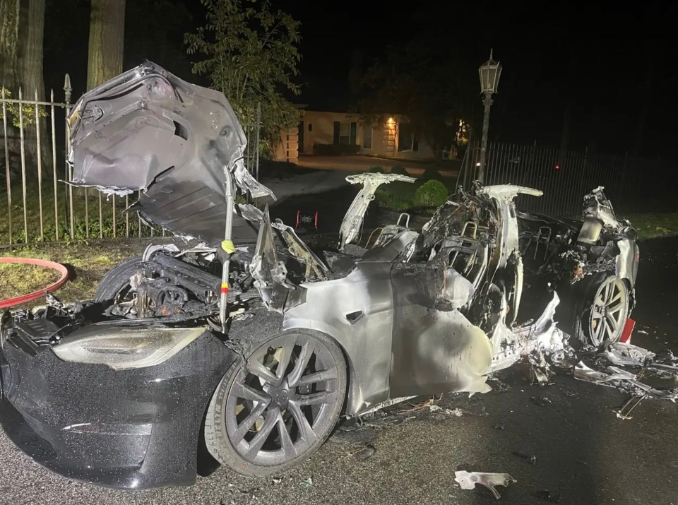 The aftermath of the new Tesla, just released last June, burnt to cinders