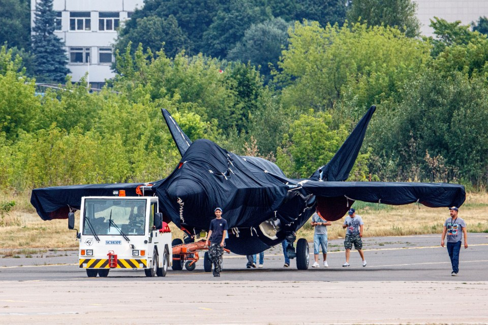 The jet was pictured under tarpaulins at the MAKS air show in Moscow