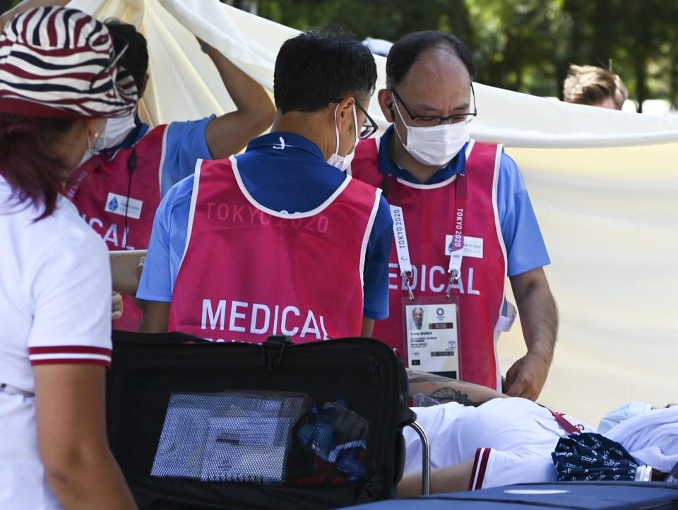 Russian archer Svetlana Gomboeva collapsed in the blistering Tokyo heat on Friday
