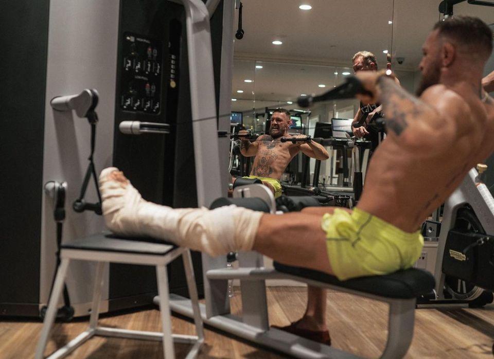 A broken leg won't stop McGregor keeping in top shape