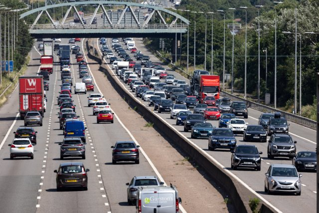 Heavy traffic on the M5 near Bristol as people head south for the first day of the summer holidays