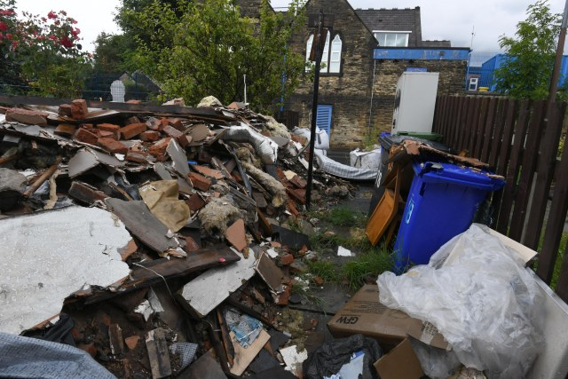 Samina's home was left covered in rubbish