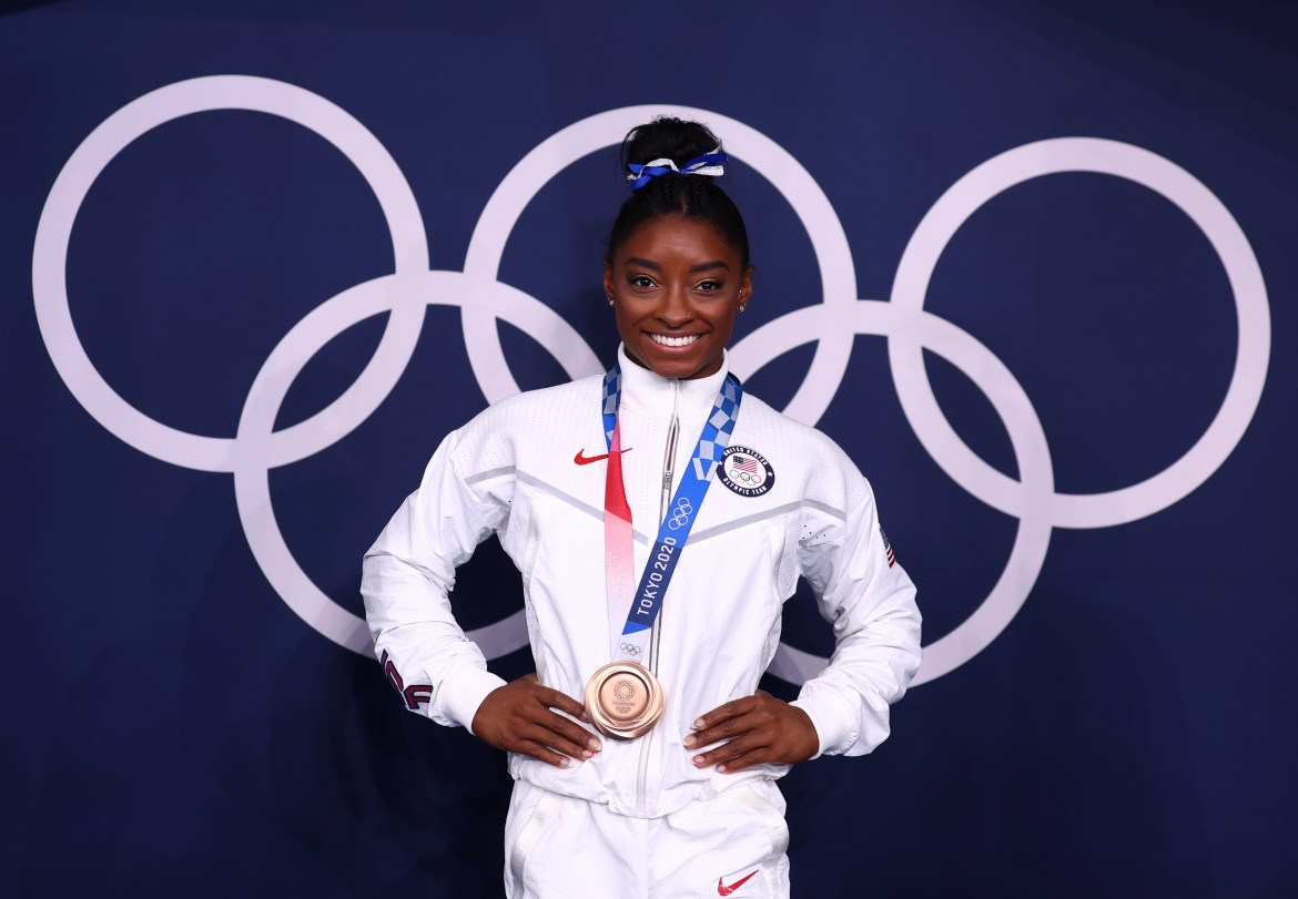 Simone Biles finished her Games by returning to win bronze in the barrel beam