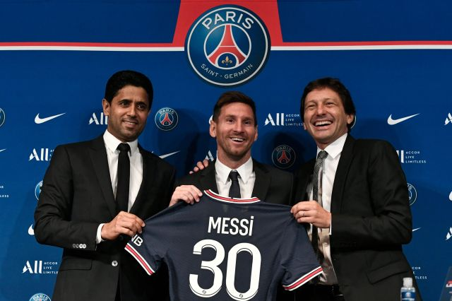 He was all smiles alongside president Nasser Al-Khelaifi and sporting director Leonardo