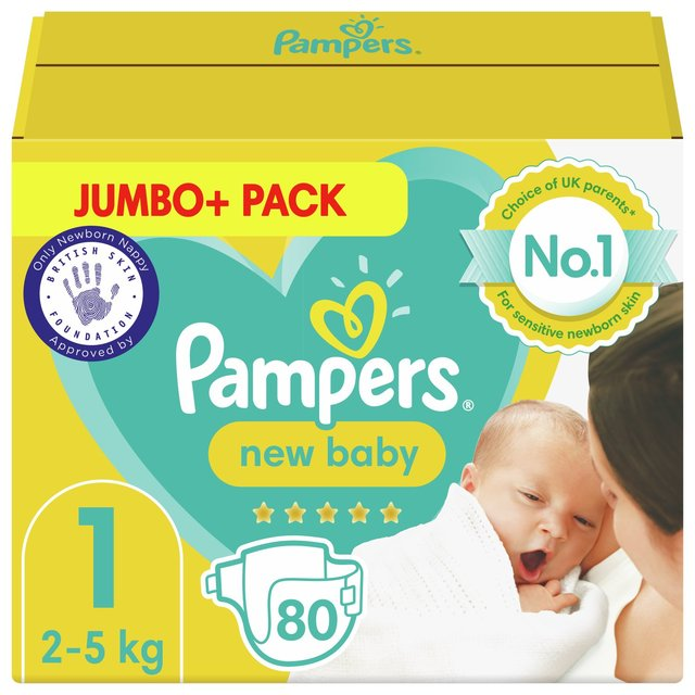 NAPPIES:Pampers New Baby Nappies Size 1, 2kg-5kg, Jumbo+ Pack, was £10 now £4.99 at Morrisons. Offer ends August 17. SAVE: £5.01