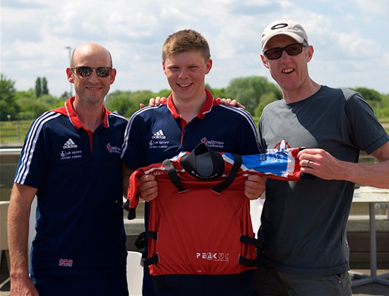 Ready for action: Pete Astles (right) with British Canoeing head coach Mark Ratcliffe (left) and slalom kayaker Chris Bowers