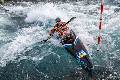 Making a splash: Fiona Pennie powers through a course