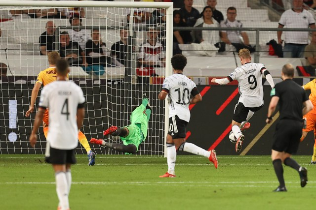 Werner got in the goalscoring act just before half-time, tapping home from close range
