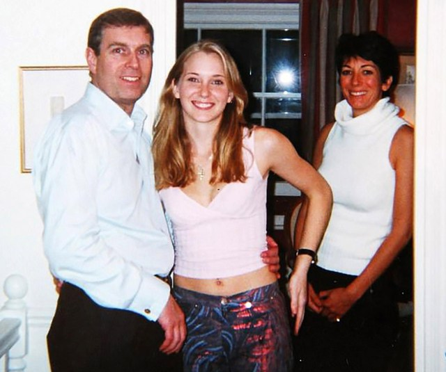 The Duke, pictured with Ms Roberts and Ghislaine Maxwell, vehemently denies the accusation