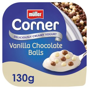 Treat yourself to ten pots of Muller Corner vanilla yoghurt with chocolate balls for £2 less at Asda