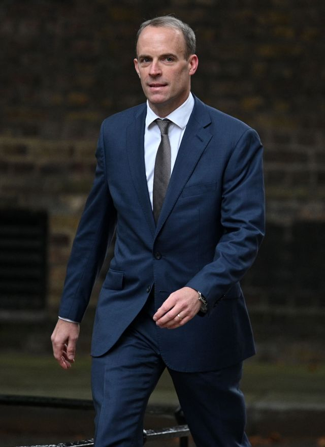 Dominic Raab going into No10 today