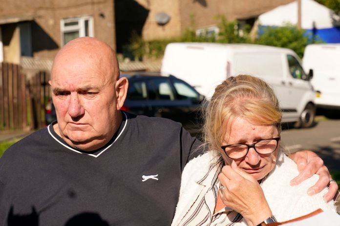 The couple sold sweets after visiting a local victim, the two victims' grandparents in the picture are Debbie and Trevor Bennett.