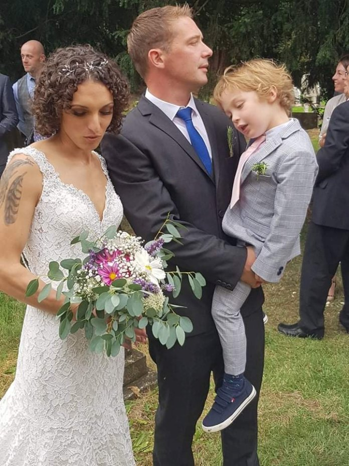The newlyweds are on their honeymoon in Cornwall with their son Samuel