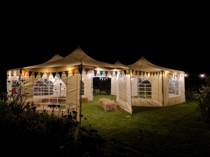 The tents in her back garden were borrowed from friends free of charge