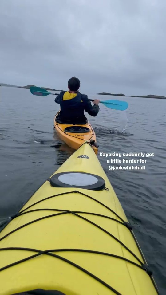 The couple was seen kayaking with their friends