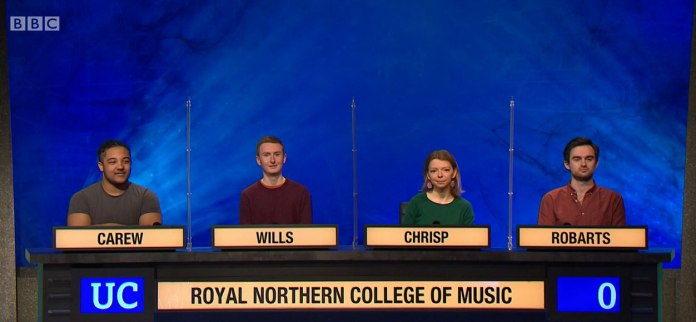 The Royal Northern College of Music eventually lost to Dundee