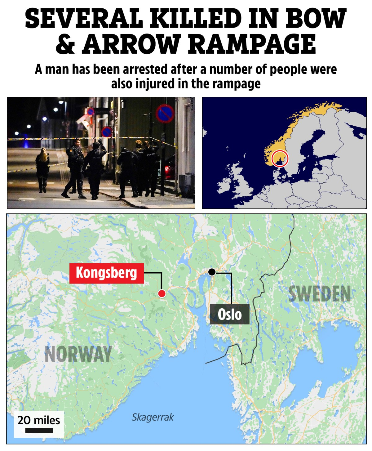 , Norway bow and arrow attacks LIVE – Five dead and several injured as man goes on 'gruesome' rampage in Kongsberg, The Evepost News