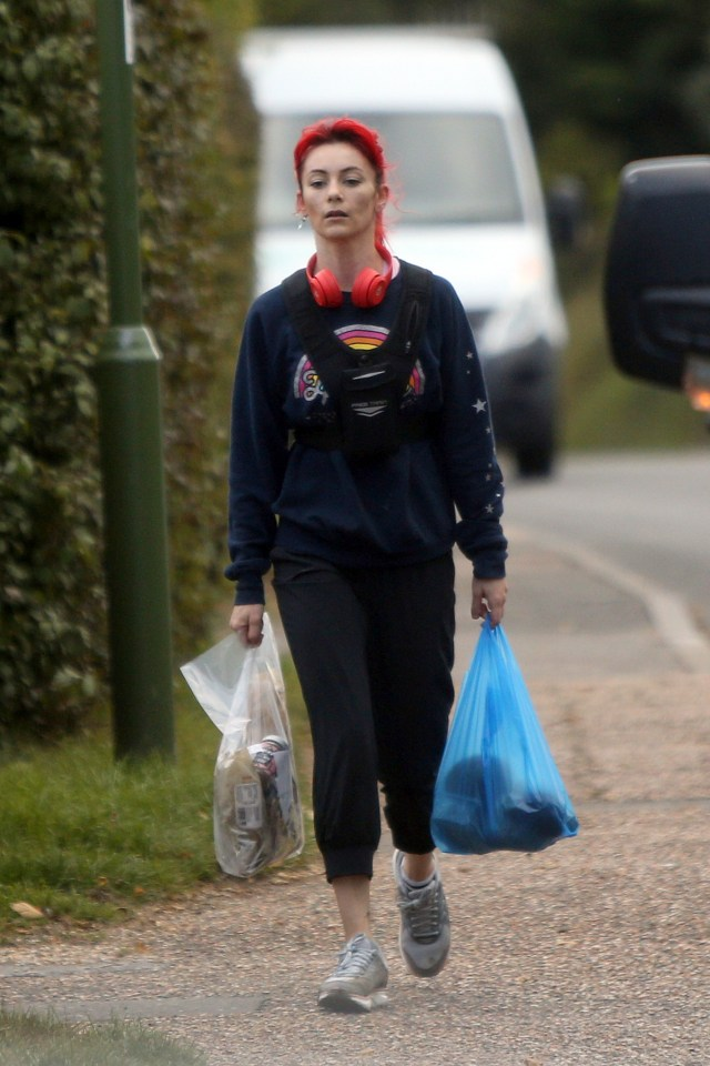 After her jog, she went to the shops to pick up some essentials