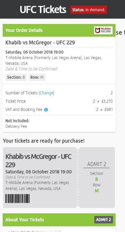 Tickets for McGregor's comeback are already on sale on ticket tout sites
