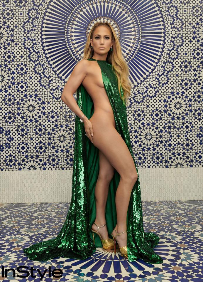 Jennifer Lopez posing semi-naked flaunting amazing curves for InStyle Magazine