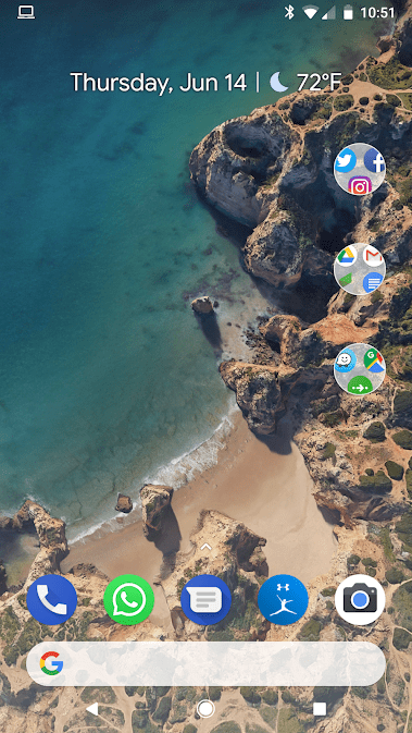 Patrick's Google Pixel 2 home screen