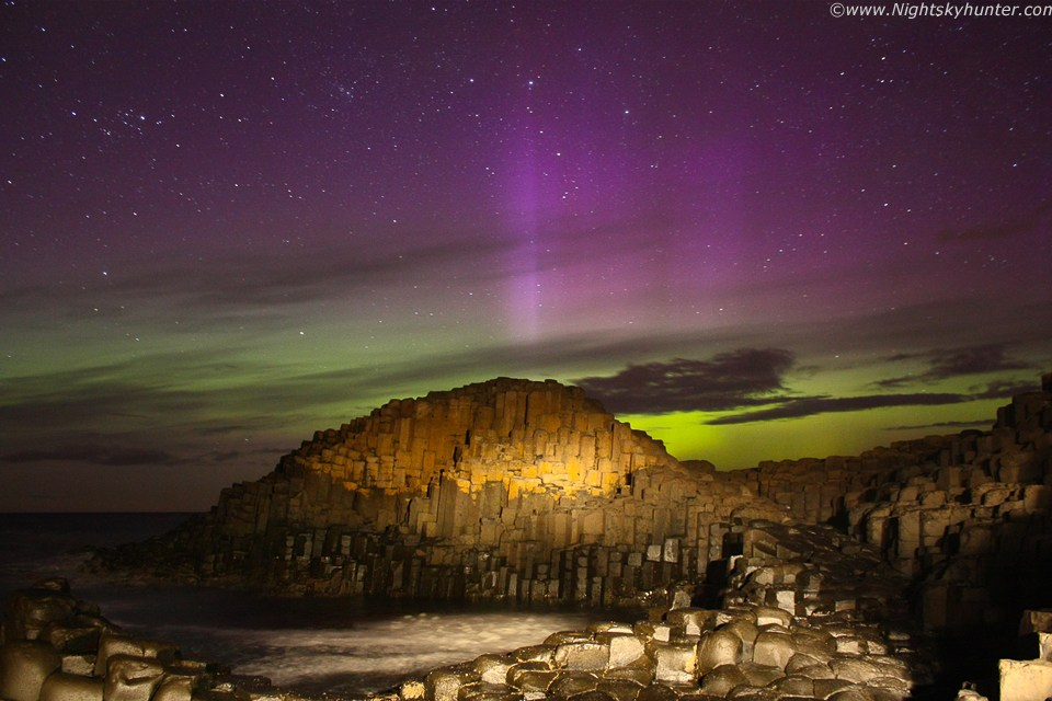 Purple Pillars and Green Auroral Glow over the Giant's Causeway in Northern Ireland captured by Martin McKenna and shared through spaceweather.com