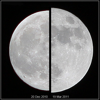The supermoon of March 19, 2011 (right), compared to a more average moon of December 20, 2010 (left), as viewed from Earth credit: http://en.wikipedia.org/wiki/Supermoon