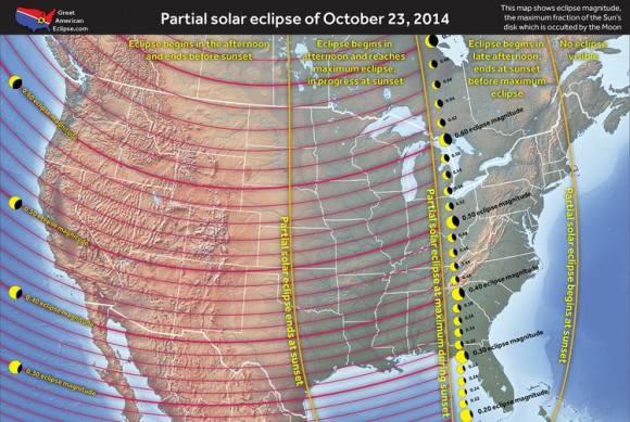 A map showing the eclipse prospects over the continental USA. Credit: Michael Zeiler @EclipseMaps, www.thegreatamericaneclipse.com.