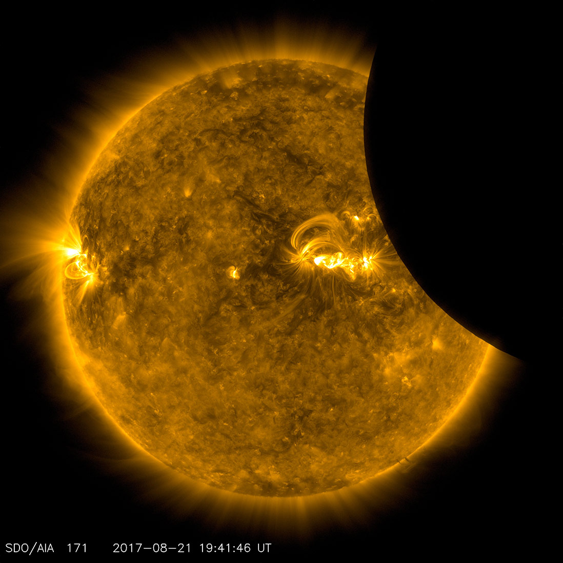 Image of the Moon transiting across the Sun, taken by SDO in 171 ångstrom extreme ultraviolet light on August 21, 2017. Credit: NASA/SDO