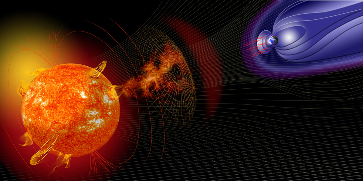 An artist's concept of a solar eruptions heading towards Earth and its magnetic field.