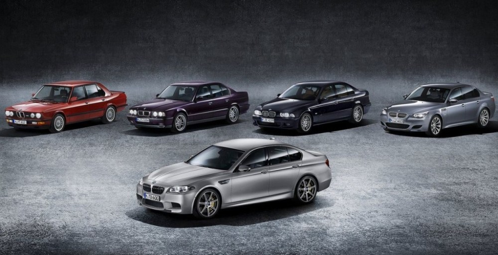 All five generations of the BMW M5