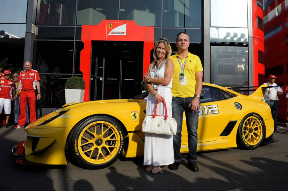 Benjamin Sloss and wife with Ferrari 599XX EVO