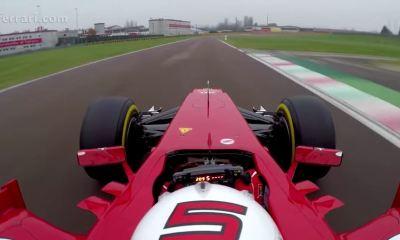 Sebastien Vettel driving a Ferrari F1