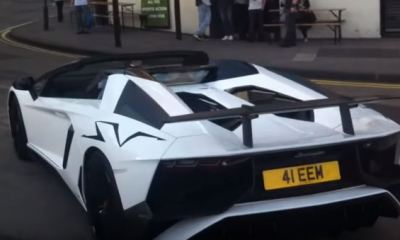 Lord Aleem pulled over in Lamborghini Aventador SV Roadster