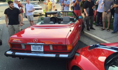 Ferrari 458 Speciale- Classic Merc crash at Cars and coffee-1