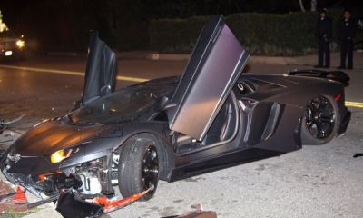 Chris Brown's Lamborghini Aventador Crashed in Beverly Hills-3