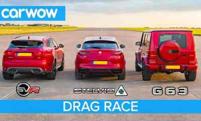 Jaguar F-Pace SVR-Alfa Romeo Stelvio-Mercedes-AMG G63-drag-race