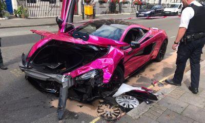 Pink McLaren 570S Crash-London-1