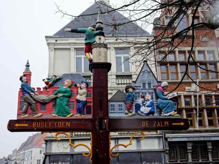Mechelen - painted signpost in Grote Markt 2