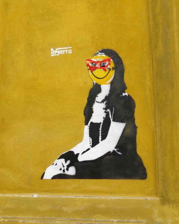 Graffiti Florence - Mona Lisa smile
