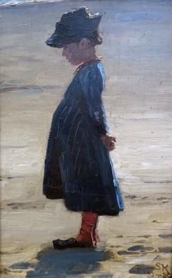 Little girl on Skagen Sönderstrand by PS Kröyer