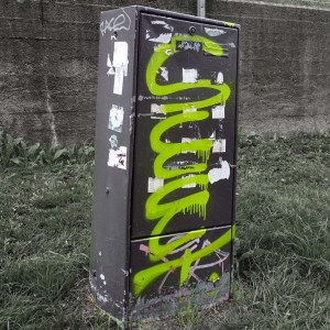 Vandalised utility box
